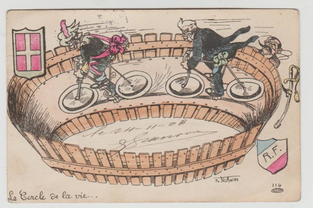 French-Italian Political Postcard