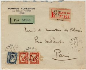 FRENCH INDO-CHINA: 1936 REGISTERED AIRMAIL COVER TO FRANCE.