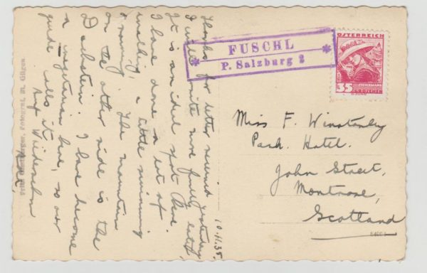 Austria Fuschl rural cancellation 1935