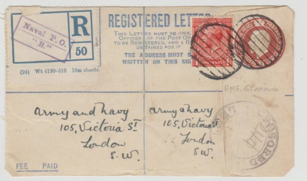 GB 3d Registered envelope from HMS Glorious c 1916