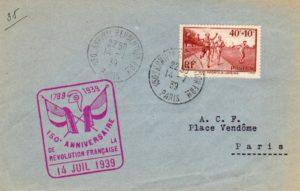 FRANCE: 1939 - 150th ANNIVERSARY OF THE REVOLUTION COMMEMORATIVE COVER.
