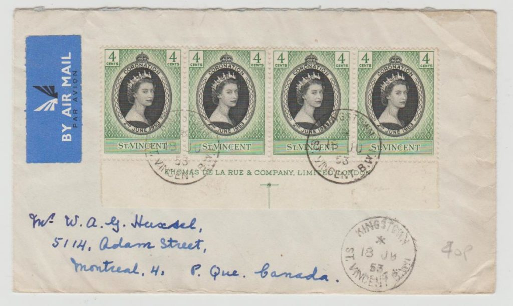 St Vincent Registered envelope 1953
