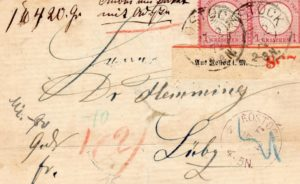 GERMANY: 1872 FRONT WITH A MARGINAL PLATE PAIR OF 1 GROSCHEN STAMPS.