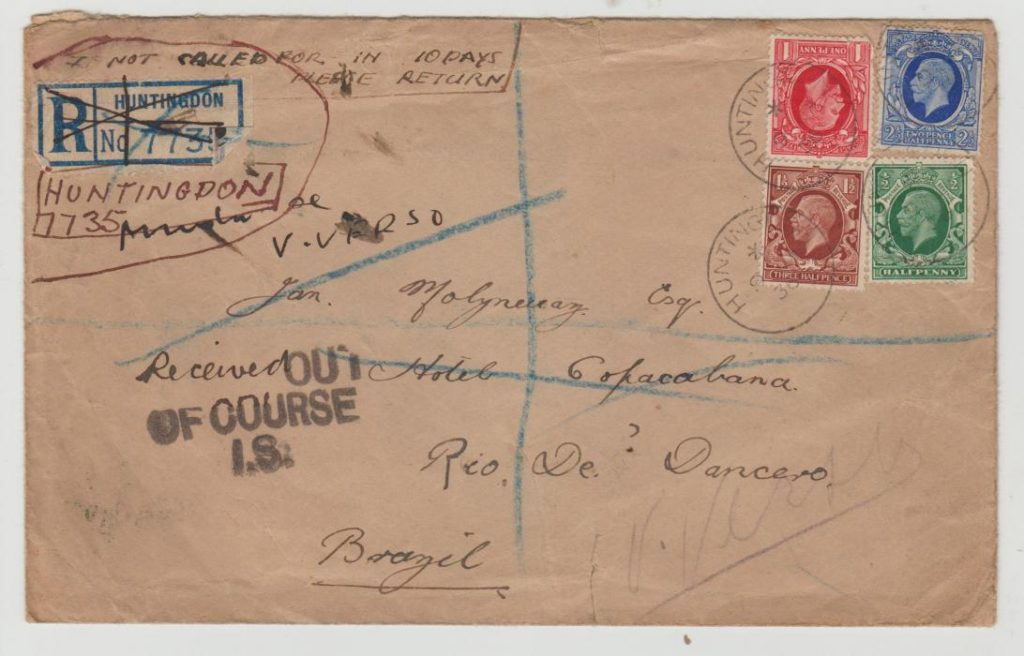 GB Registered to Brazil 1936