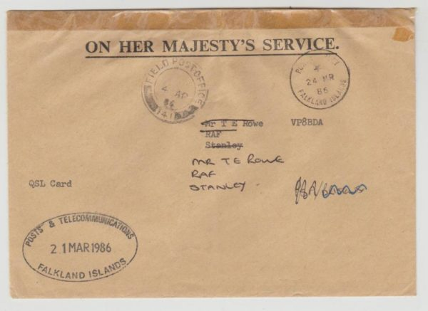 OHMS FPO 141 Falkland Islands 1986