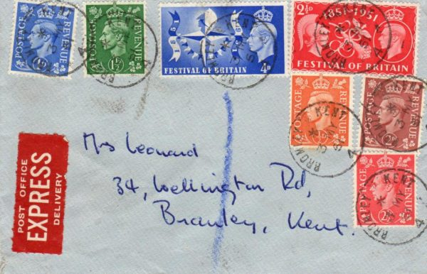 GB-KENT: 1951 EXPRESS COVER AND FESTIVAL OF BRITAIN FIRST DAY COVER.