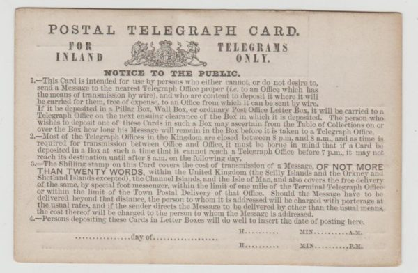 GB Postal Telegraph Card c1900