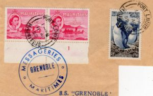 MAURITIUS - TAAF: 1959 MIXED FRANKING MARITIME PIECE.