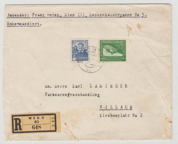 German Annexation of Austria mixed franking 1939