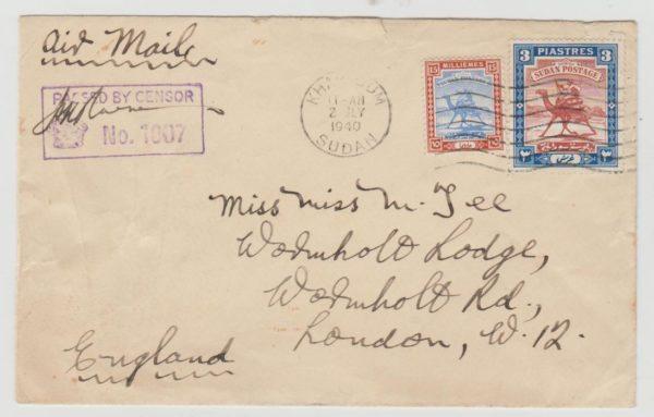 Sudan to London 1940 Censored