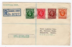 GB-SURREY: 1936 REGISTERED COVER WITH COIL STAMPS.