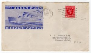 GB-LONDON: 1936 ILLUSTRATED RMS QUEEN MARY MAIDEN VOYAGE COVER TO USA.