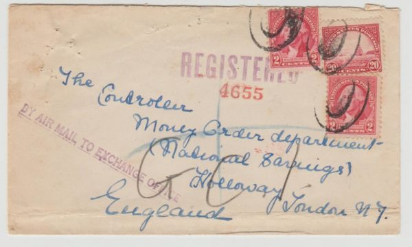 USA to London registered airmail 1932