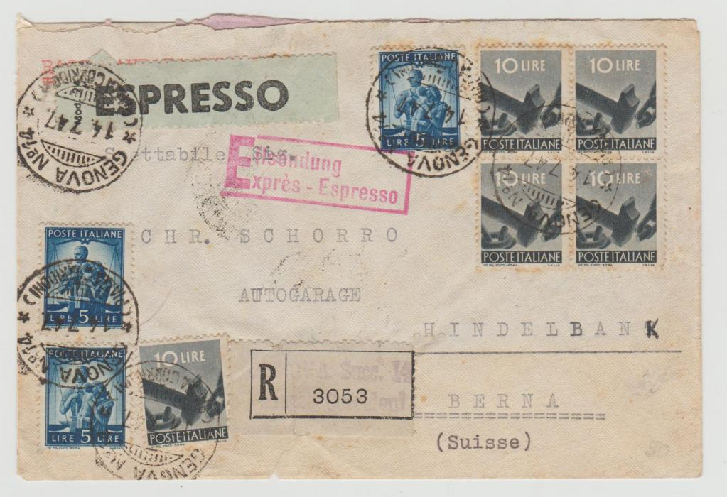 Italy registered express envelope to Berne