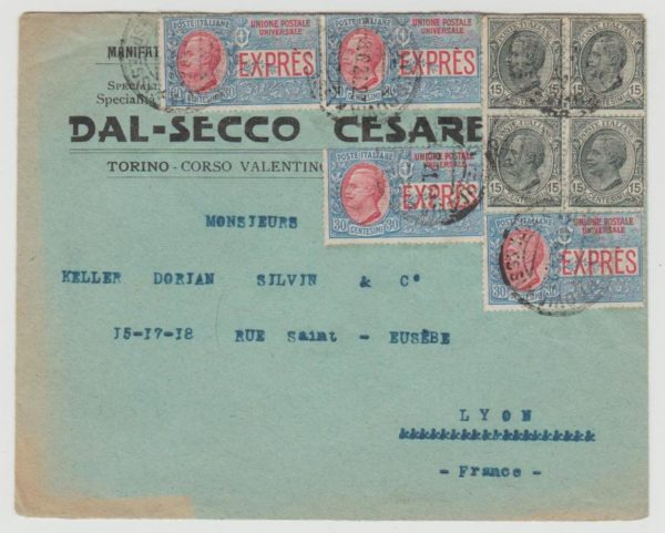 Italy Express Stamps on envelope to France 1921