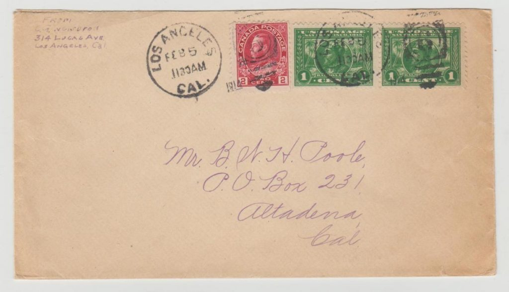USA and Canada mixed franking 1914