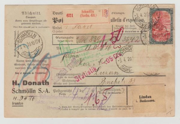 German parcel card 1920 to Switzerland