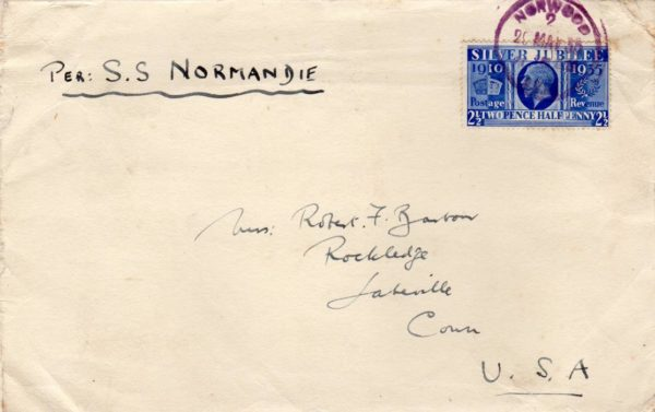 "GB-LONDON: 1935(?) COVER TO USA ""PER SS NORMANDIE"""