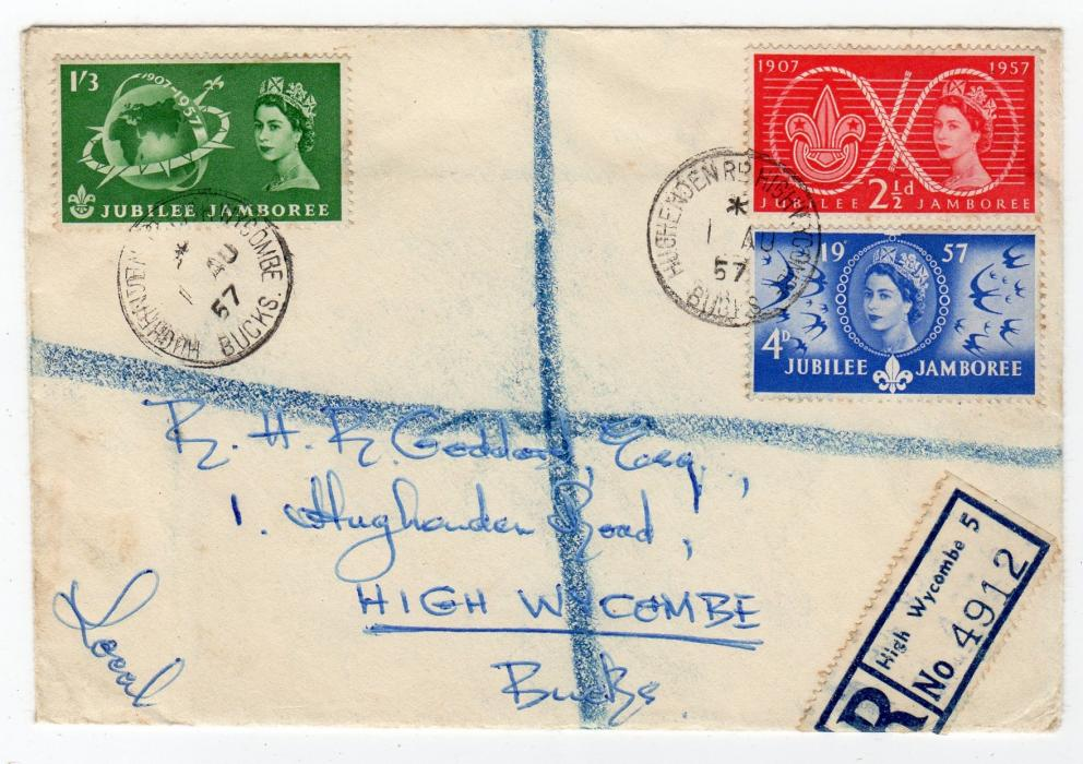 GB-BUCKS: 1957 REGISTERED SCOUT JUBILEE JAMBOREE FIRST DAY COVER.
