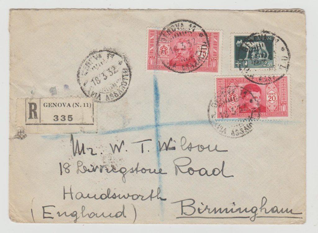 Italy registered envelope 1932
