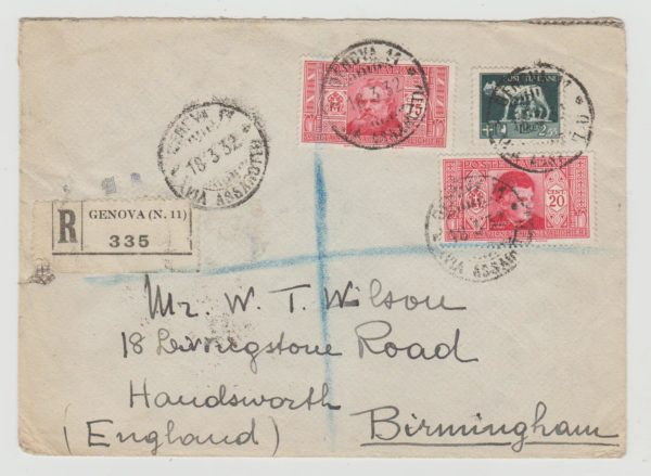 Italy registered envelope 1932