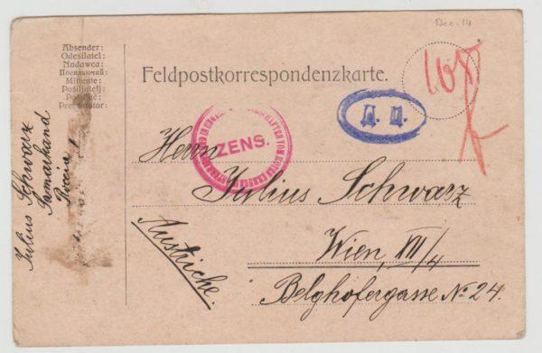 Austria Feldpost card from Samarkand 1914