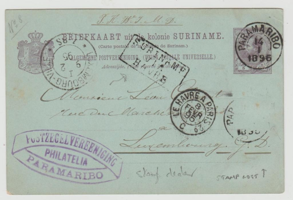 Dutch East Indies to Luxembourg 1895