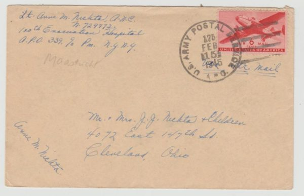 US Army Post Airmail 1945 from Holland