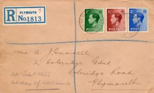 GB-DEVON: 1936 REGISTERED KEVIII FIRST DAY COVER.