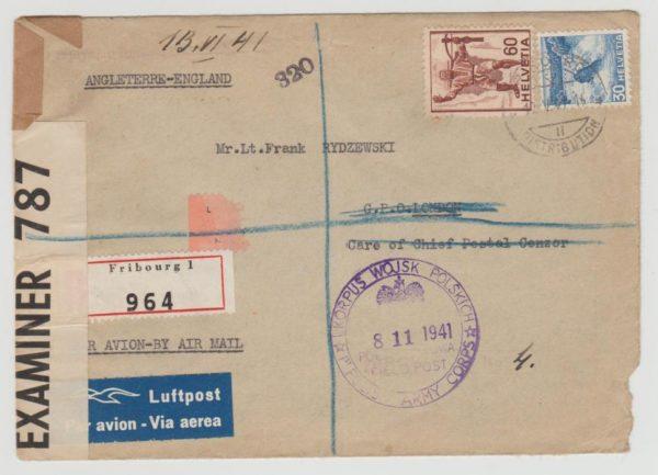 Switzerland registered airmail to Polish Army 1941