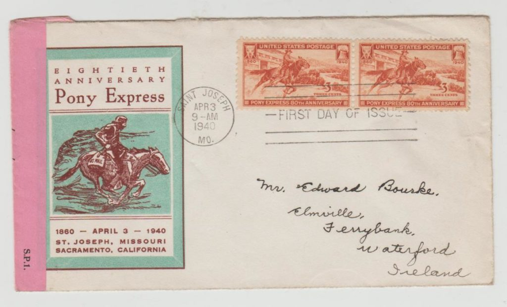 Pony Express envelope with Irish censor