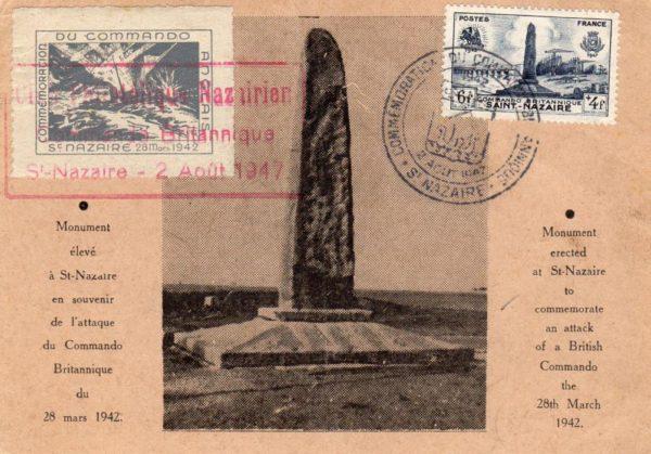 FRANCE: 1947 ST.NAZAIRE RAID COMMEMORATIVE POSTCARD.