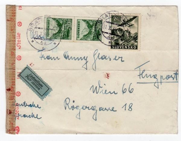 SLOVAKIA: 1944 CENSORED AIRMAIL COVER TO AUSTRIA.