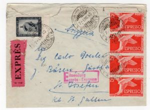 ITALY: 1949 EXPRESS COVER TO SWITZERLAND.