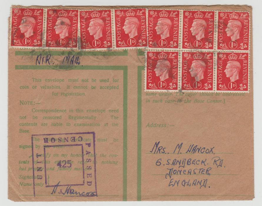 GB 10 x 1d on 'Honour Envelope' to Doncaster 1941