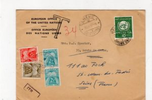 SWITZERLAND - UNITED NATIONS: 1957 COVER REDIRECTED TO FRANCE WITH FRENCH POSTAGE DUES.