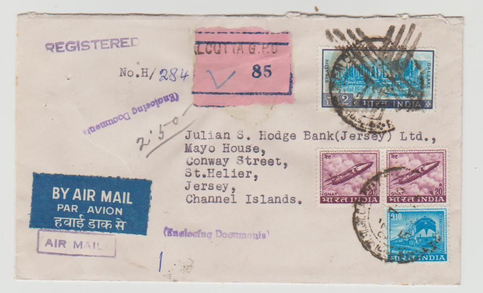 India Registered Airmail 1962
