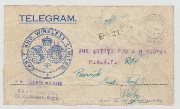 Telegram from RAAF London to Derby
