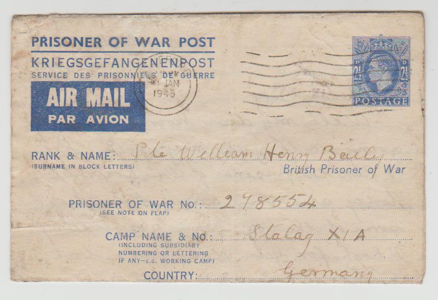 British POW letter to Stalag XIA 1945