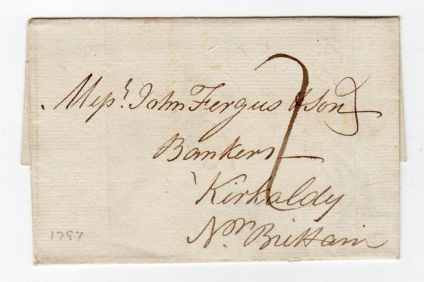 GB - LONDON: 1787 COVER TO SCOTLAND WITH BISHOP MARK.