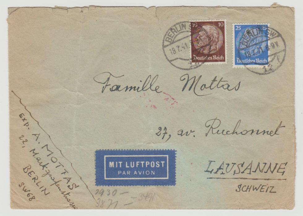 Germany Airmail to Switzerland 1941 censored