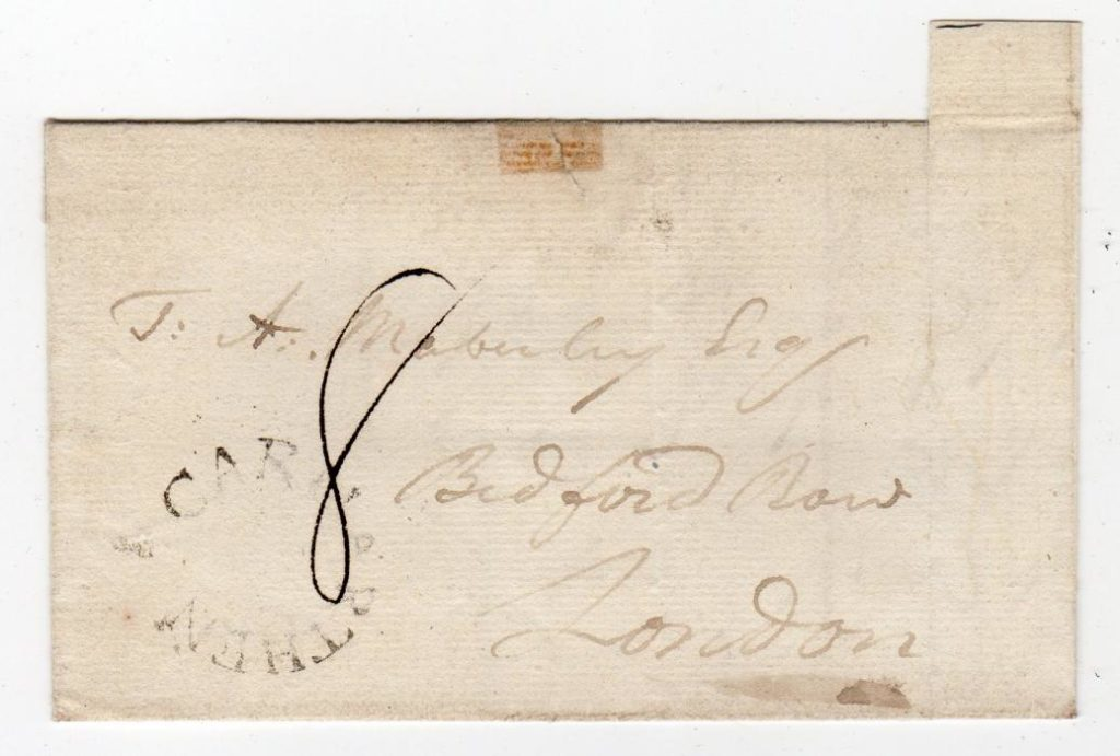 WALES: 1790's PART ENTIRE WITH CARMARTHEN HORSESHOE POSTMARK.