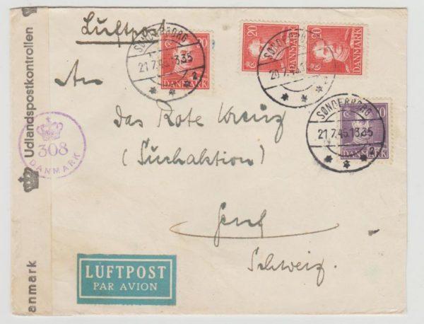 Denmark to Switzerland 1945 censored