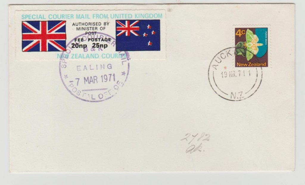 GB Postal Strike 1971 to New Zealand