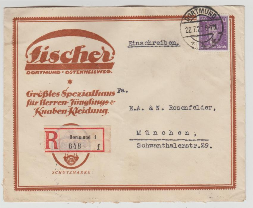 German advertising envelope registered 1927