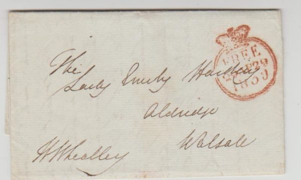 GB 'Free' letter from HM Ship 1838