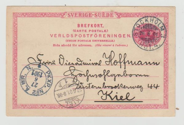 Sweden Postcard to Kiel 1901