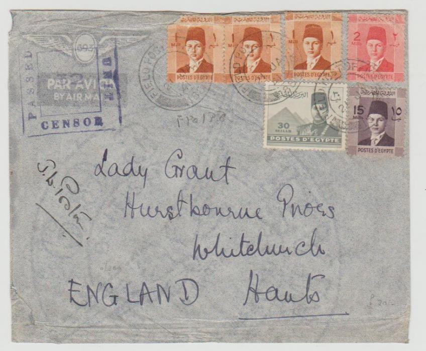 Egypt to UK British FPO datestamp 1941