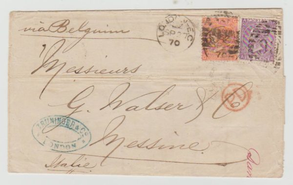 GB 10d rate to Italy 1870