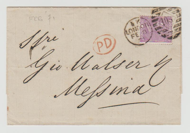 GB 6d rate to Italy 1871